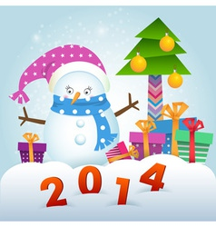 Cute Snowman and Christmas tree with gifts vector image vector image