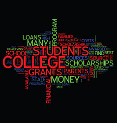 the best way to find college loans text vector image