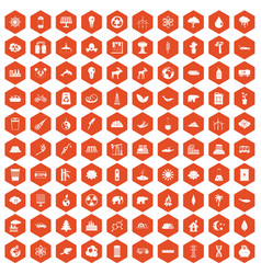 100 eco icons hexagon orange vector