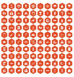 100 eco icons hexagon orange vector