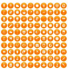 100 moon icons set orange vector