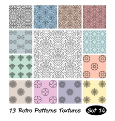 13 Retro Patterns Textures Set 14 vector image