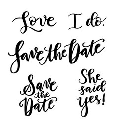 5 trendy save the date hand lettering vector image