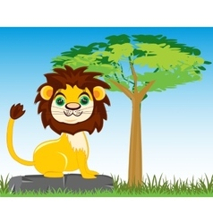 Animal lion in savannah vector