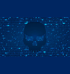 ascii art background with hacker skull vector image