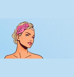 attractive blonde woman looking up portrait of vector image