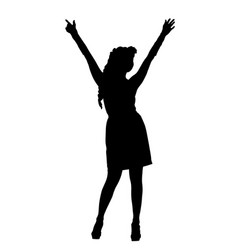 attractive woman in short dress silhouette vector image