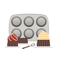 baking pans for cupcakes and cupcake in plate flat vector image