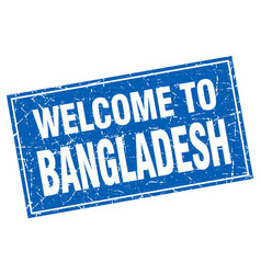 bangladesh blue square grunge welcome to stamp vector image