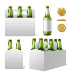 Beer bottles six pack realistic 3d green vector