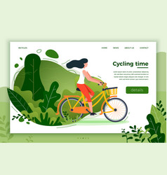 Bicycle riding girl park forest trees and hills vector