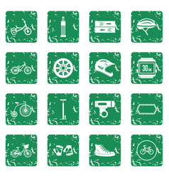 Biking icons set grunge vector