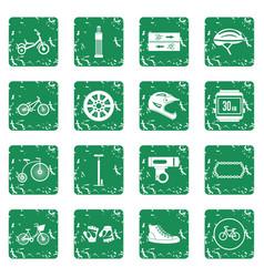 biking icons set grunge vector image