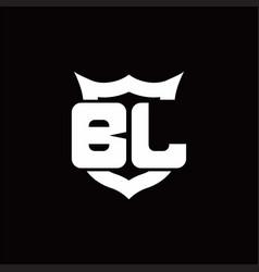 bl logo monogram with shield around crown shape vector image