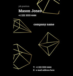 Black and gold business card template strict style vector