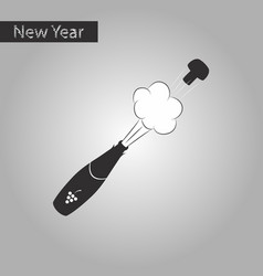 Black and white style icon of bottle champagne vector