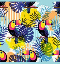 Botanical seamless pattern with toucan vector