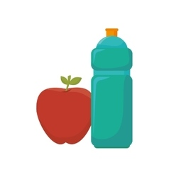 Bottle water gym with apple vector