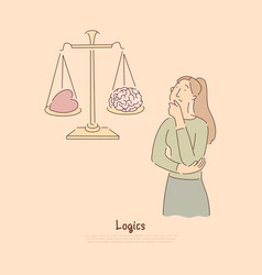 brain vs heart on scales logical thinking versus vector image