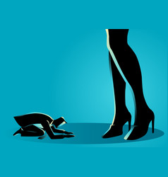 Businessman prostrated under female high heels vector