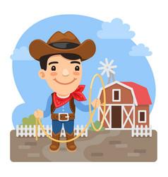 cartoon cowboy on farm vector image
