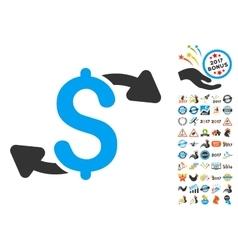 Cash Outs Icon With 2017 Year Bonus Symbols vector