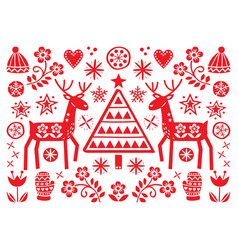 christmas folk art greeting card with reindeer vector image