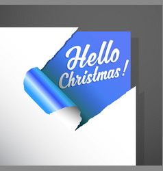 Christmas paper corner cut out with hello vector
