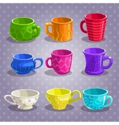 Colorful cartoon tea cups set vector image