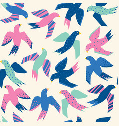colorful flying birds abstract papercut style vector image