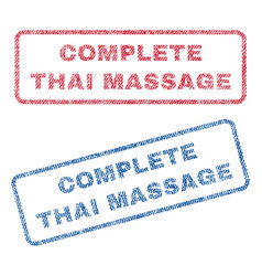 Complete thai massage textile stamps vector