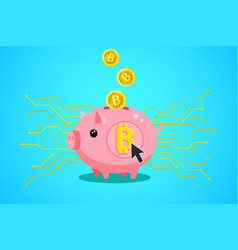 concept crypto currency piggy bank with vector image