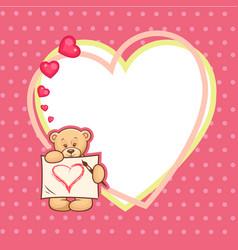 cute valentine teddy bear with big heart vector image