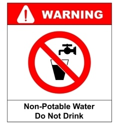 Do not drink water prohibition sign vector