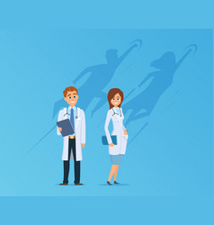 doctors with superheroes shadow medical team vector image