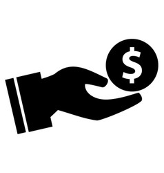 dollar with hand icon vector image