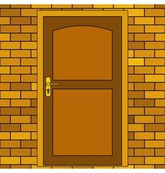 Door in brick wall vector image