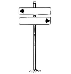Drawing of arrow empty blank traffic sign vector