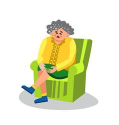 Elderly woman with arthritis sit in chair vector