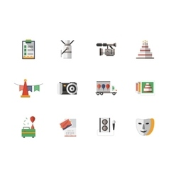 Event services flat color icons set vector image