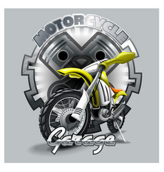 Extreme red off road motorbike garage logo vector