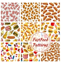 Fast food seamless patterns set vector