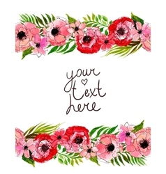 floral border with pink flowers vector image