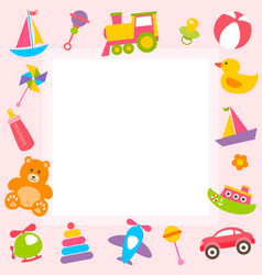 frame with cute colorful toys vector image