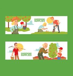 gardening supplies set banners vector image