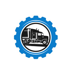 gear logo design and truck repair vector image