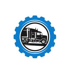 Gear logo design and truck repair vector