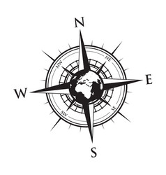globe on a compass vector image