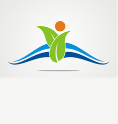Green leaf abstract beauty company logo vector