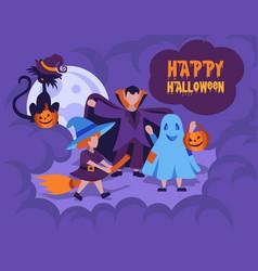 halloween kids costume party happy halloween card vector image